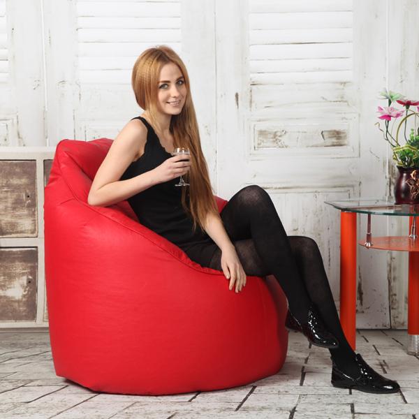 Astounding Visi Red Leather Bean Bag Boss Chair Machost Co Dining Chair Design Ideas Machostcouk