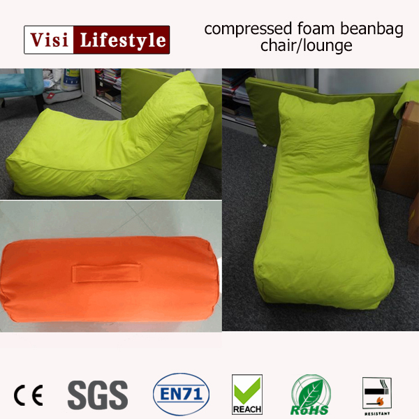 2017visi new portable compressed foam beanbag chair lounge